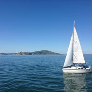 Sailboat with Alcatraz in the background San Francisco