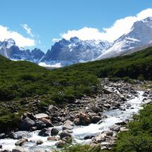 Stream from the mountains at Torres del Paine National Park Chile