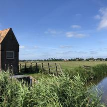 Small water pumping station near the town Gaastmeer in Friesland The Netherlands