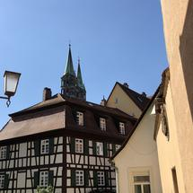 Timber frame housing and the Bamberg Cathedral in Bamberg Germany