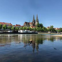 Danube river and the Regensburg Cathedral in Regensburg, Germany