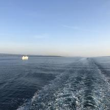 Water trace from a ferry on the Adriatic Sea in Croatia