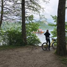 Tourist taking a photo from Lake bled in Slovenia