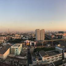 Panorama from Bangkok city view during sunset in Thailand