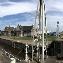 Panorama from the sea lock in Lemmer, Friesland The Netherlands