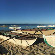 Panorama from the catamaran Boats at the beach of Balicasag Island in Bohol the Philippines