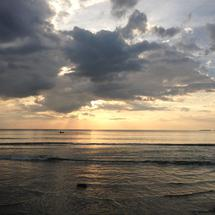 Sunset at Ngwe Saung beach in Myanmar