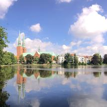 Panorama from Lübeck Cathedral in the old town of Lübeck Germany