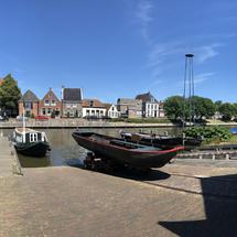 Panorama from a shipyard in Dokkum, Friesland The Netherlands