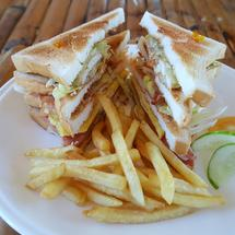 Lunch break with Club Sandwich and French fries on a plate