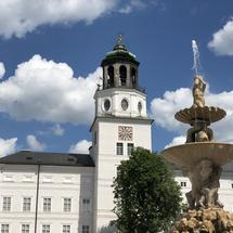 Fountain in front of the Salzburg Museum in Austria