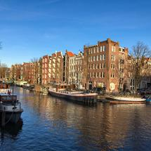 Brouwersgracht on a clear winter day in Amsterdam The Netherlands