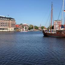 Canal cruise in the harbor of Emden Germany