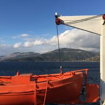Rescue boat on a ferry from Marmari to Rafina in Greece