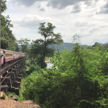 View from the train on the Death Railway passing by the Dangerous Curve in Lum Sum Kanchanaburi Thailand