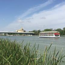 Cruise ship at the Canal de Alfonso XIII in Seville Spain