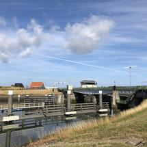 Bridge at Lorentz Locks in Kornwerderzand, Friesland The Netherlands
