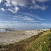 Panorama from the beach at Kornwerderzand in Friesland, The Netherlands