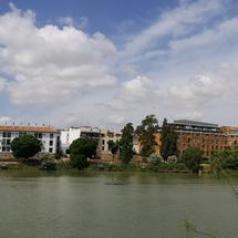 Panorama from the Canal de Alfonso XIII in Seville, Spain
