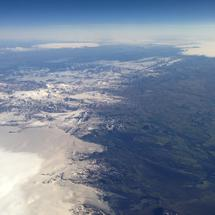 Flying over snowy Iceland