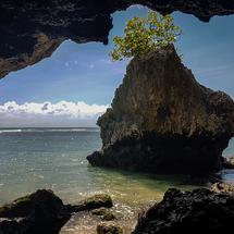 View out of a cool cave.