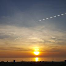 Sunset at Katwijk beach in The Netherlands