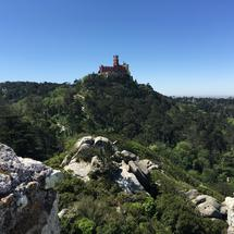 The Pena Palace seen from Castelo dos Mouros in Sintra Portugal