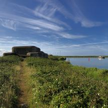 Panorama from a bunker at the Lorentz Locks in Kornwerderzand, Friesland The Netherlands