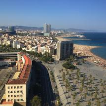 Barcelona city and beach view from the Port Vell Aerial Tramway