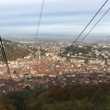 View from a ski lift towards mount tampa in Brasov Romania