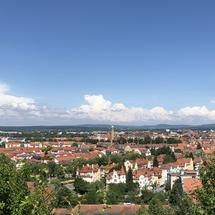 Scenic city view from the Kloster Michelsberg in Bamberg, Germany