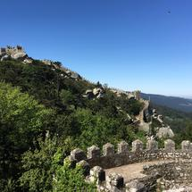 Royal Tower and wall at the Castelo dos Mouros in Sintra Portugal