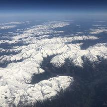 Flying over the austrian alps in Europe