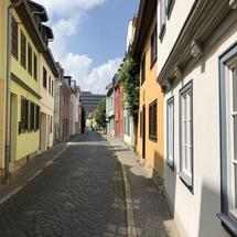 Street with colorful houses in Erfurt Germany