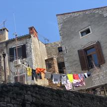 Laundry in the old town of Pula, Croatia
