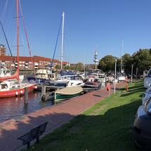 Boats and campers at the old inland port in Emden, Germany