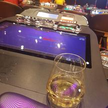 just chillin' having wine while waiting for jackpot.