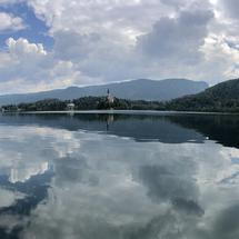 Panorama from rowboats at lake bled in Slovenia