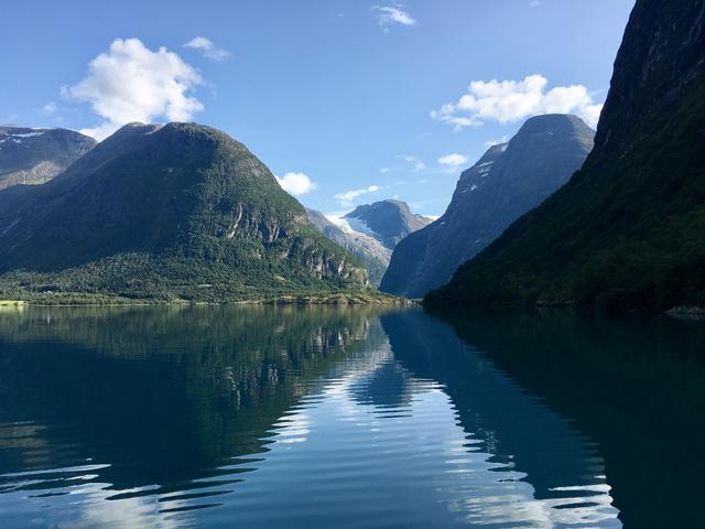 View over the mountains behind the Lovatnet lake in Jostedalsbreen National Park, Norway.