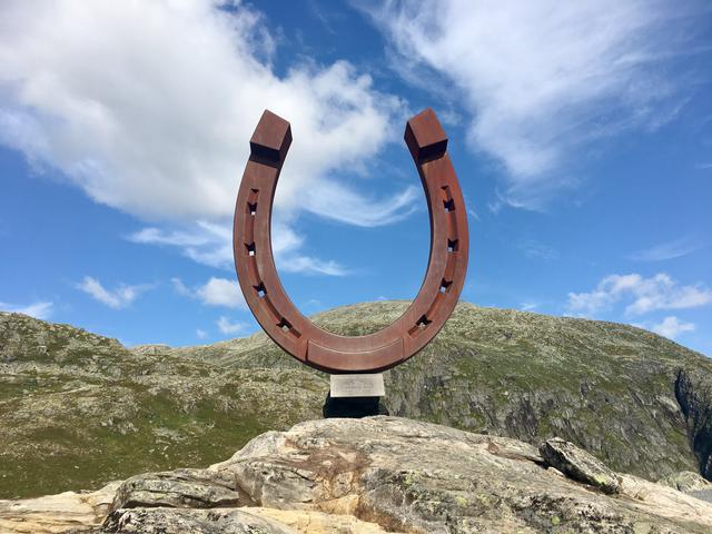 Horseshoe monument at Mt. Hoven in Norway, the top of Loen Skylift.