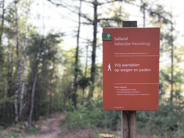 Sign at the Sallandse heuvelrug National park in Overijssel, The Netherlands