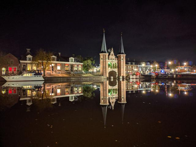 The waterpoort at night in Sneek, Friesland The Netherlands