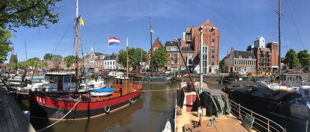 Panorama from the boats in the Noorderhaven Groningen The Netherlands