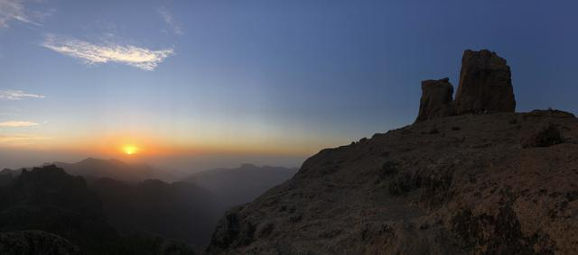 Sunset panorama of Roque Nublo the volcanic rock on the island of Gran Canaria