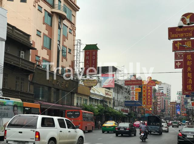 Street in the chinatown of Bangkok Thailand