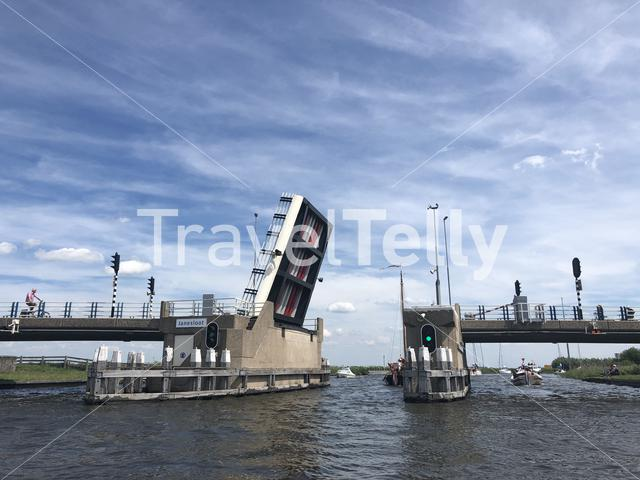 Bridge open for boats in Friesland The Netherlands