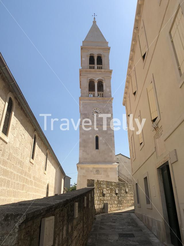 Tower of the Crkva sv. Petra church in Supetar Croatia