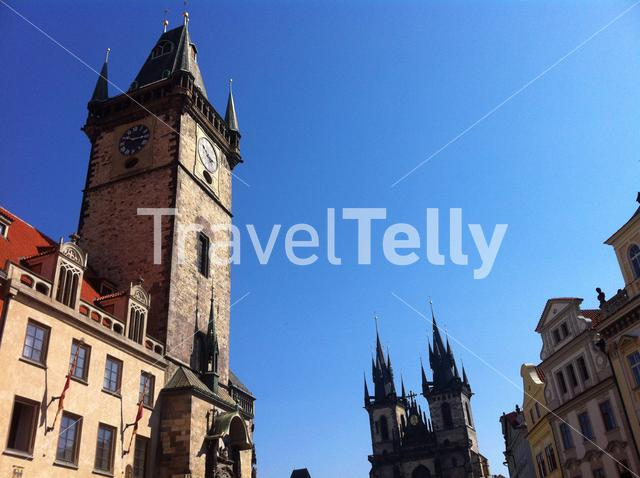 Tower with the Astronomical Clock with the Church of Our Lady before Tyn in Prague Czech Republic
