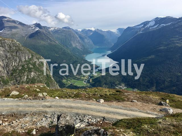 View over the Lodalen valley and the Lovatnet lake in Norway, as seen from Mt. Hoven, the top of Loen Skylift.