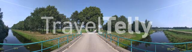 Panorama from a bridge over a canal around Diepenheim, overijssel, The Netherlands